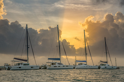 Four In A Row Sunrise. Ambergris Caye. Belize.