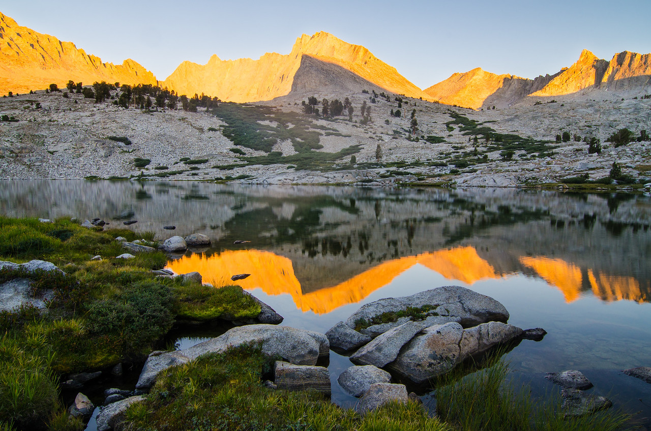 North Guard over Middle Sphinx Lake, Kings Canyon National Park, California