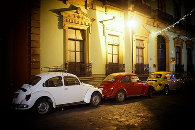 White, Red and Yellow VW Beetles