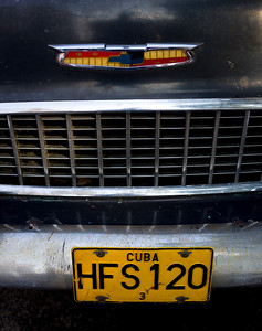 Vintage Black Chevy Grill and License Plate