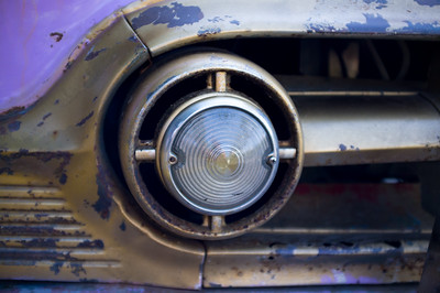 Rusted Headlights on a vintage car
