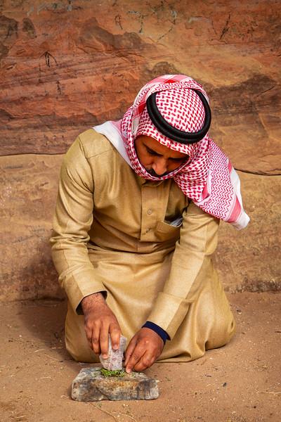Bedouin Man Making Soap, Wadi Rum
