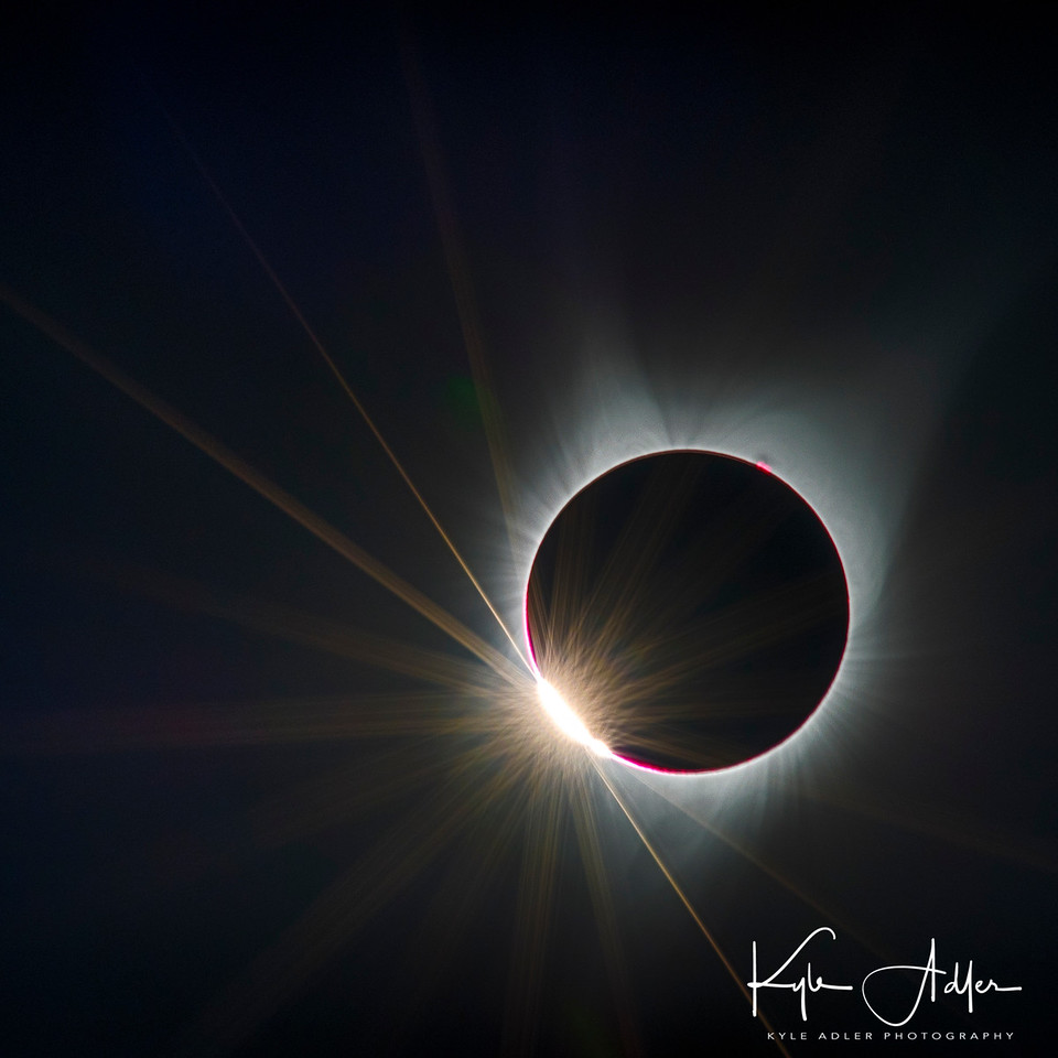 Diamond ring effect just an instant before the start of totality during the 2017 eclipse viewed from Salem, Oregon.