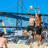 Curt Toppel spikes the ball during his match at the AVP San Francisco Open Tournament on Friday, July 7, 2017, in San Francisco, California (Kyle Adler/Bay Area News Group)