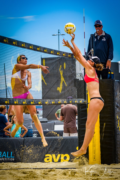 Lauren Fendrick blocks a spike during her match at the AVP San Francisco Open Tournament on Friday, July 6, 2018, in San Francisco, California (Kyle Adler/Bay Area News Group)