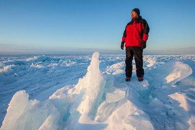 BEHIND THE SCENES 2514  Pausing for a self-portrait while photographing Lake Superior ice on March 29, 2014.