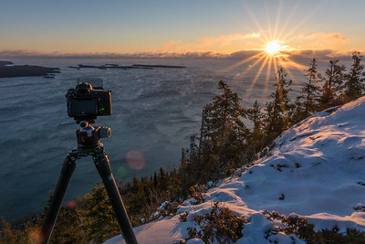 BEHIND THE SCENES 03970  December 2016 - Photographing a below-zero sunrise from the summit of Mt. Josephine in Grand Portage, MN.