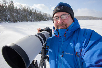 BEHIND THE SCENES 9952  Self-portrait while hanging out on Hungry Jack Lake on the Gunflint Trail, waiting for the dog teams from the Gichigami Express Sled Dog Race to show up. It was a cold but beautiful afternoon! January 4, 2014