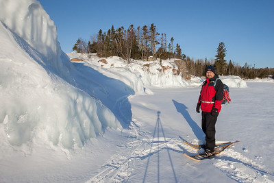 BEHIND THE SCENES 2592  Pausing for a self-portrait while photographing Lake Superior ice on March 29, 2014.