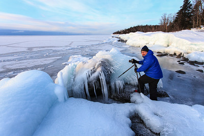 "BEHIND THE SCENES 27549  Photographing the ""Ice Explosion"" along the Lake Superior shoreline in Grand Portage, MN - February 2014 - Photo by Roger Nordstrom"
