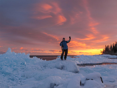 BEHIND THE SCENES 4953  Enjoying a superb icy sunset on the shores of Lake Superior in Grand Portage, MN