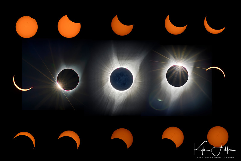 I created this montage from some of my favorite images to show the progression of the stages of the 2017 eclipse viewed from Salem, Oregon.  It depicts the partial stages, the diamond ring effect, totality, and back through the remaining partial stages.
