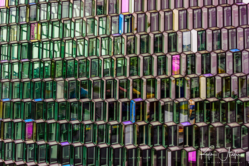 Reykjavik's new Harpa Concert Hall.  The brightly colored glass facade of the building was inspired by Iceland's volcanic landscape.
