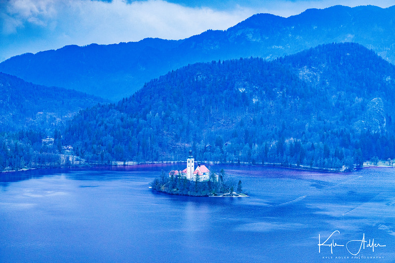 Spectacular view from Bled Castle down across the lake and its island.