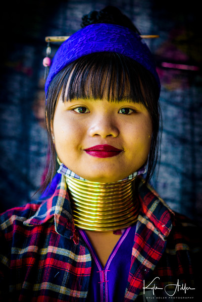 This 18-year-old Padaung girl proudly wears the brass coils on her neck as a symbol of ethnic identity.  She told us her younger sister chooses not to wear the ornaments as she goes to a Burman school where most of the other students are not Padaung.  The tradition was often scorned as backwards during the military regime, but now young Padaung women are again often choosing to practice it.