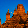 The moon rises over an ancient pagoda in the Bagan region.