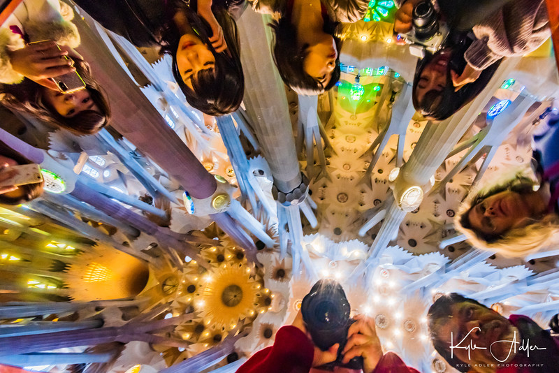 I shot this self-portrait (Mary is also included) using a mirror positioned so visitors could view the soaring interior space of La Sagrada Familia.
