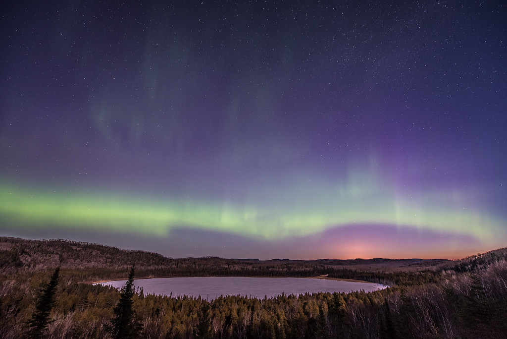 "AURORA 3629<br /> <br /> ""Aurora over Teal Lake""<br /> <br /> April 11, 2015 - Grand Portage, MN"