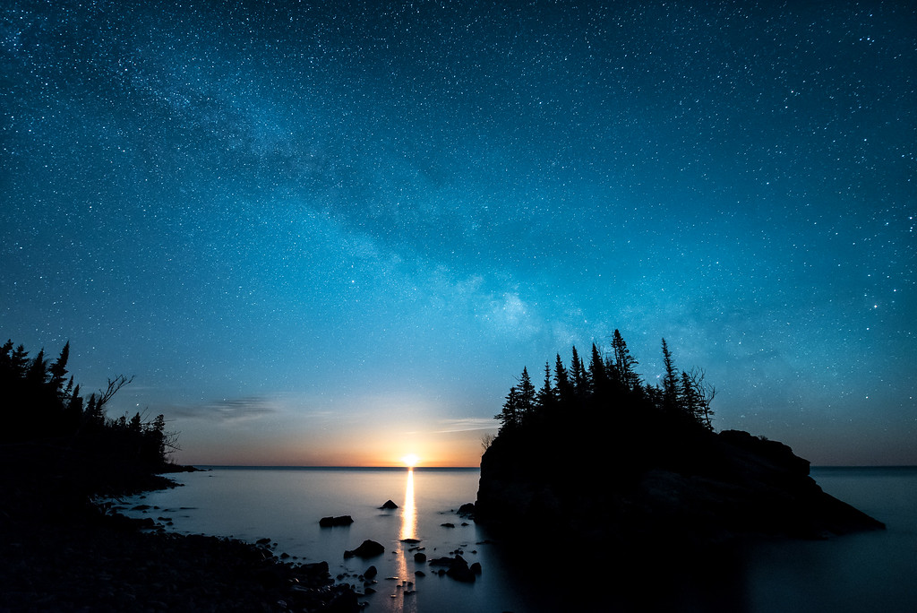 "MILKY WAY 5116<br /> <br /> ""Milky Way Moonrise over Rock Island"""