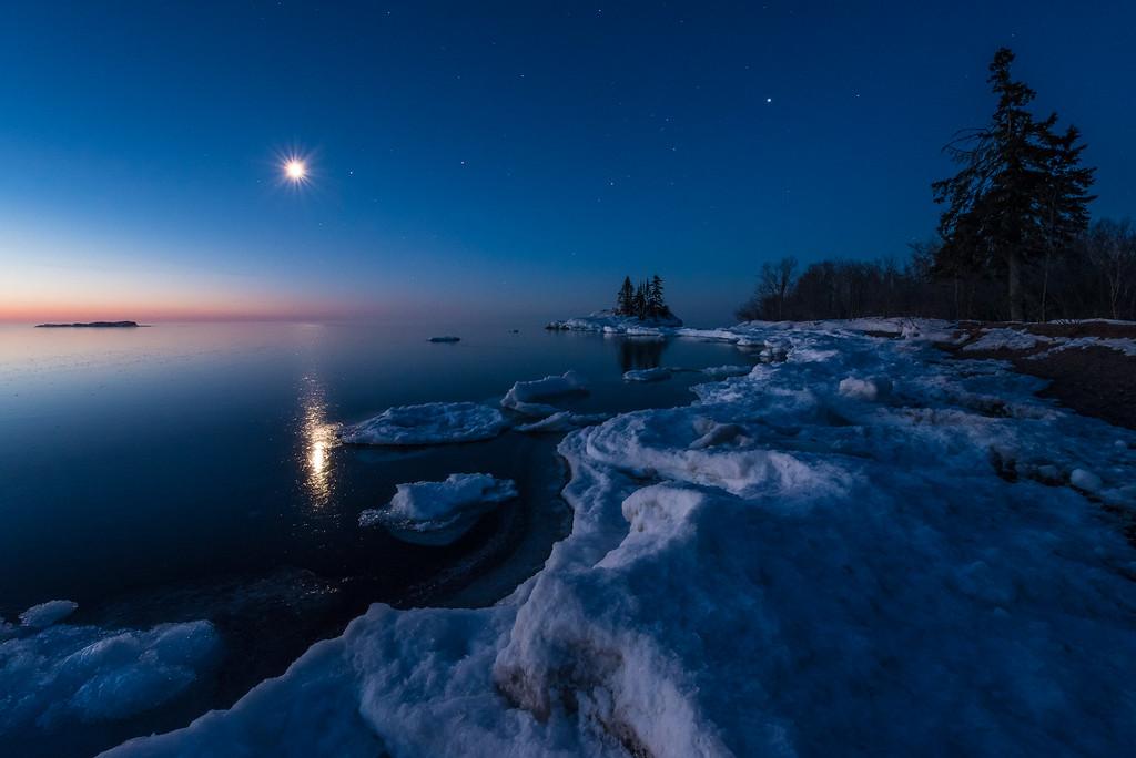 """Dawn Moonrise, Lake Superior Shoreline"""