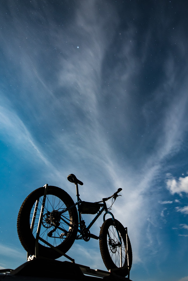 "BIKING 9575<br /> <br /> ""Galactic Ice Cream Truck""<br /> <br /> My fat bike on the car roof rack with a rather cool moonlit night sky for a background."