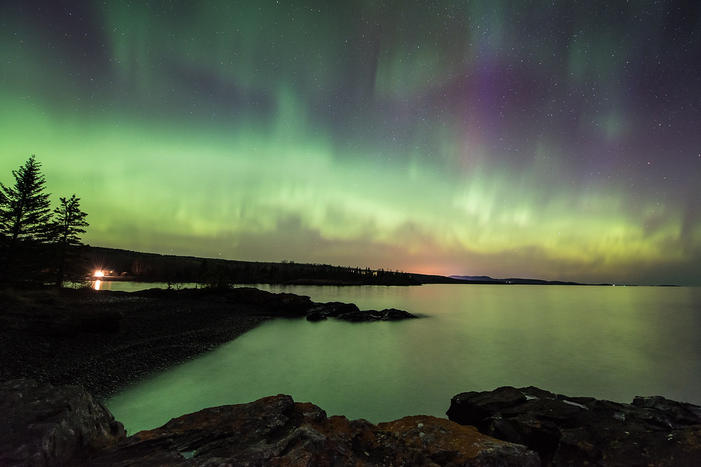 "AURORA 5238<br /> <br /> ""Aurora Borealis over Hollow Rock Bay""<br /> <br /> Northern Lights on May 13, 2015"