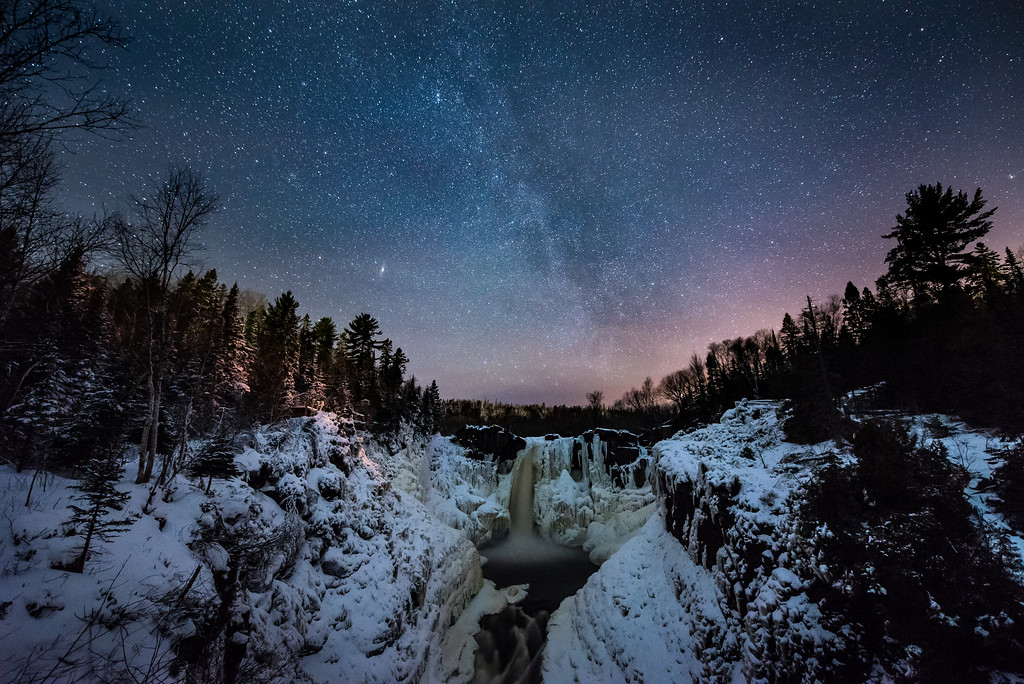 """MILKY WAY 1889<br /> <br /> """"Winter Night Sky over High Falls""""<br /> <br /> Grand Portage State Park, MN"""