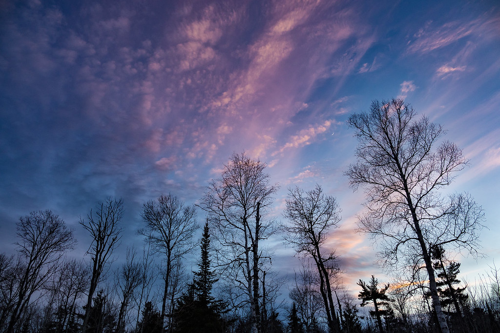 "FOREST 01345<br /> <br /> ""Winter Sunset off Cowboy's Road""<br /> <br /> Grand Portage, MN"