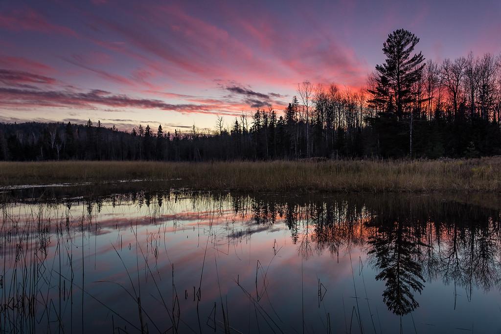 "LAKES 02548<br /> <br /> ""Autumn Sunset, Eagle Marsh""<br /> <br /> Grand Portage, MN"