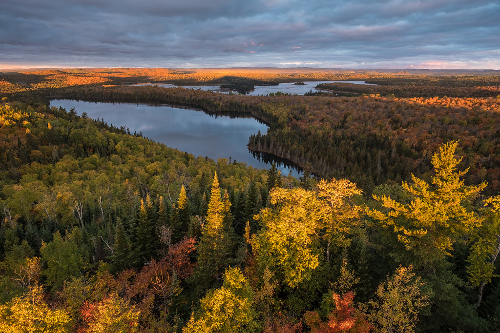"AUTUMN 0089<br /> <br /> ""Autumn sunrise over my two favorite lakes""<br /> <br /> Early morning light washes over my two favorite lakes: Speckled Trout Lake and Swamp Lake in Grand Portage, MN."