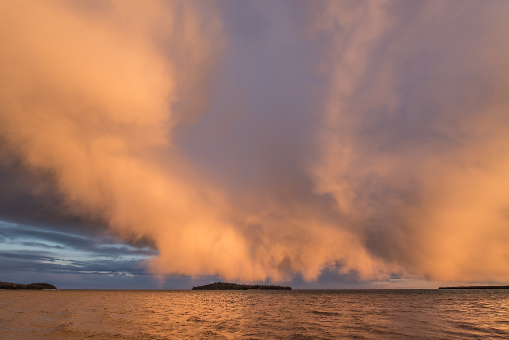 "SUPERIOR SPRING 3753<br /> <br /> ""Sunset Squall over Grand Portage Bay"""