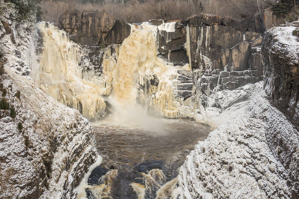 """PIGEON RIVER 07236<br /> <br /> """"Early Ice at High Falls""""<br /> <br /> November 10, 2017 - Grand Portage State Park, MN"""