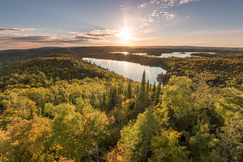"""LAKES 0788<br /> <br /> """"Early Autumn over Trout and Swamp Lakes""""<br /> <br /> Grand Portage, MN"""