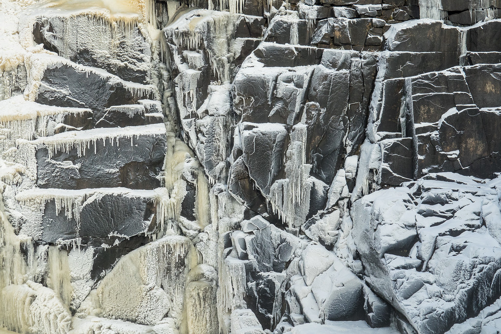 """ICE 07276<br /> <br /> """"Frosted Rocks""""<br /> <br /> November 10, 2017 - Brrrr it's cold out there!  Winter seems to have arrived early this year.  We already got a bunch of snow, now we're getting the cold.  This morning the temperature was barely above zero degrees, which means we're getting an early taste of winter's beauty.  The rocks adjacent to High Falls at Grand Portage State Park have a lovely frosted look today."""