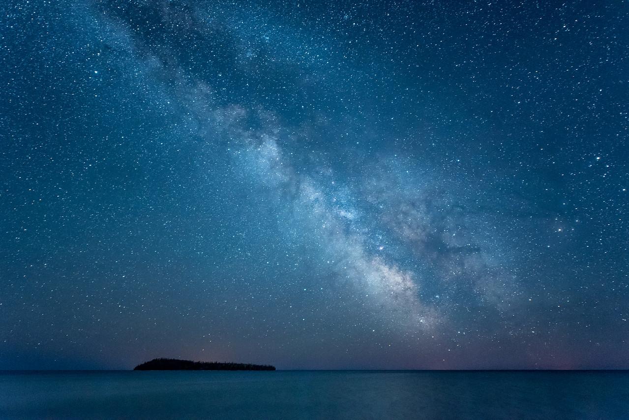 """MILKY WAY 4305<br /> <br /> """"Milky Way over Pete's Island""""<br /> <br /> Grand Portage, MN"""