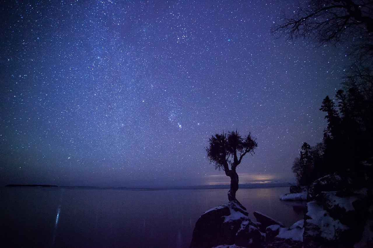 "MILKY WAY 0650<br /> <br /> ""Winter's Night at the Spirit Tree""<br /> <br /> Grand Portage, MN"
