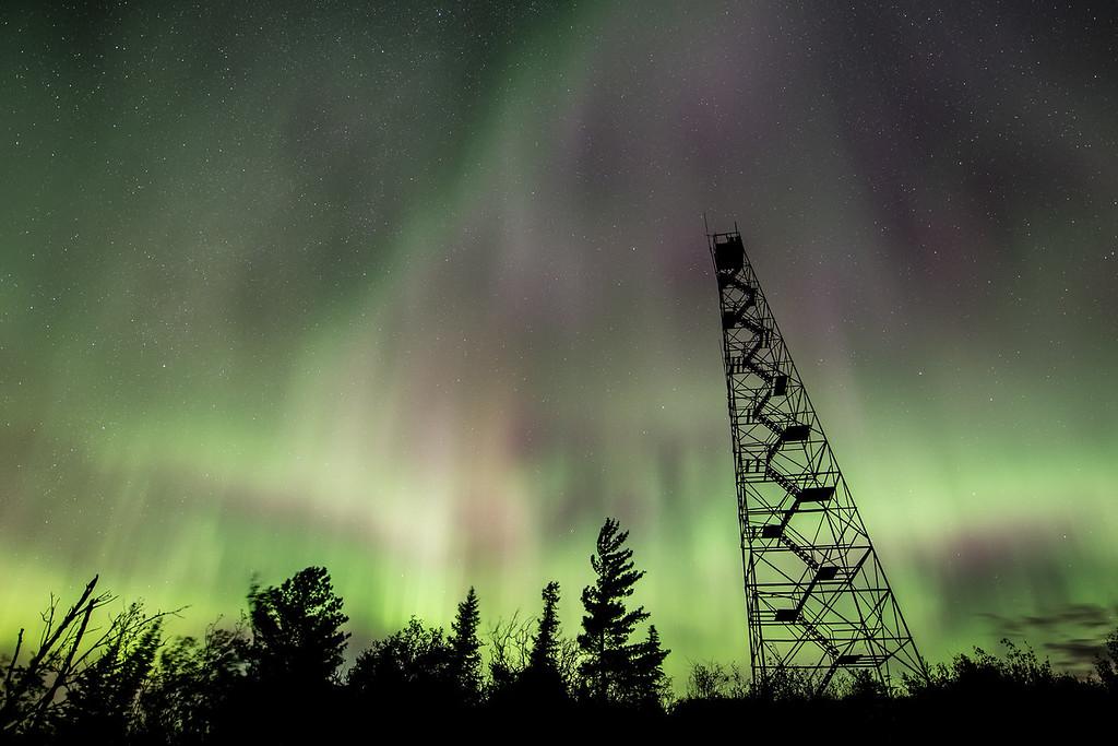 """AURORA 0528<br /> <br /> """"Fire Tower Light Show""""<br /> <br /> Northern Lights on September 20, 2015"""