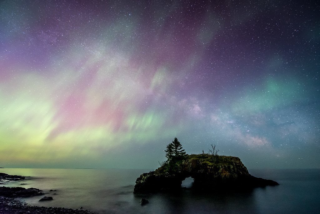 "AURORA 5195<br /> <br /> ""Celestial Fantasy""<br /> <br /> Northern Lights and the Milky Way Galaxy over Hollow Rock on Lake Superior - May 13, 2015"