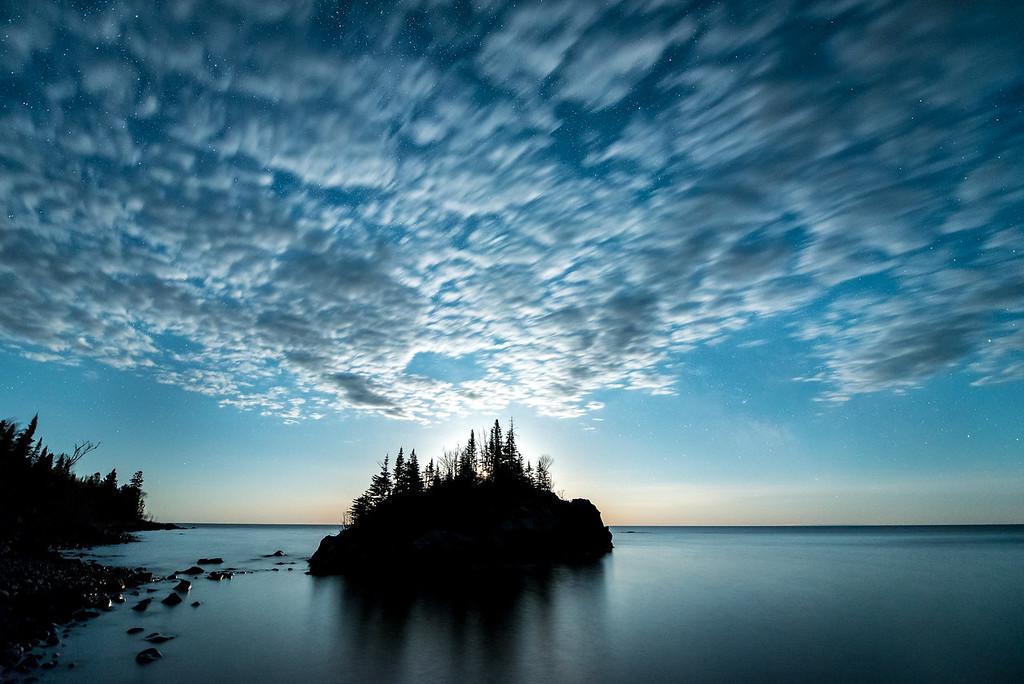 "MOONLIGHT 5156<br /> <br /> ""Rock Island Moonlight""<br /> <br /> Lake Superior in Hovland, MN"