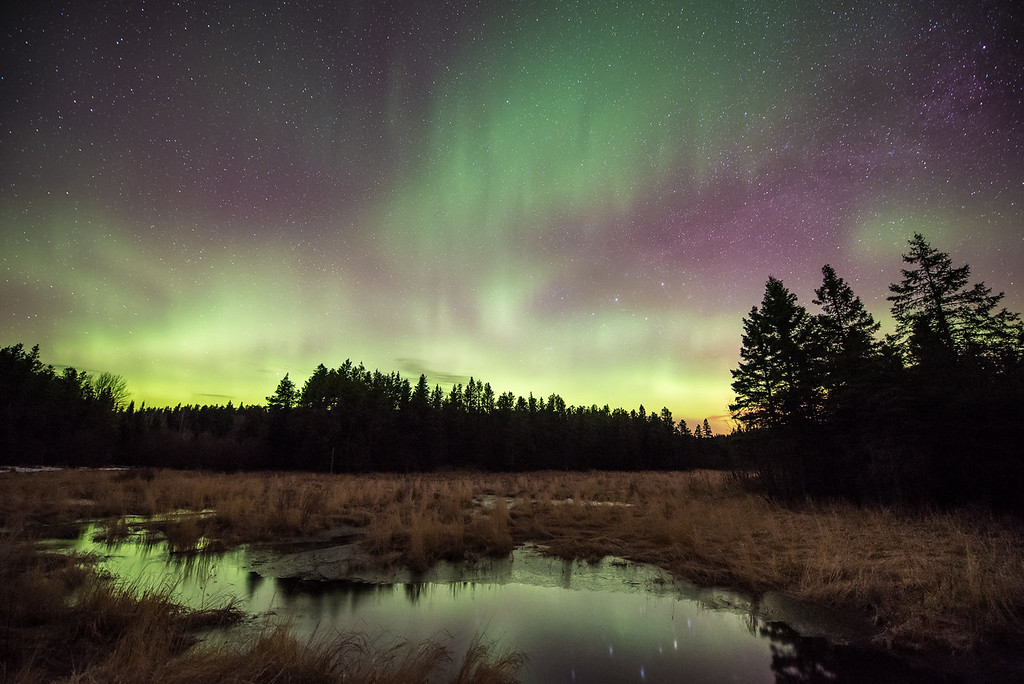 "AURORA 4103<br /> <br /> ""Magical Meadow""<br /> <br /> Northern Lights on April 15, 2015 - Grand Portage, MN"