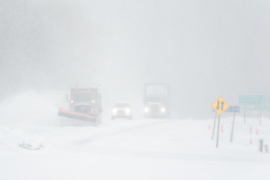 """TRANSPORTATION 03864<br /> <br /> """"April Whiteout!""""<br /> <br /> A snow storm on Highway 61 in Grand Portage, MN on April 27, 2017."""