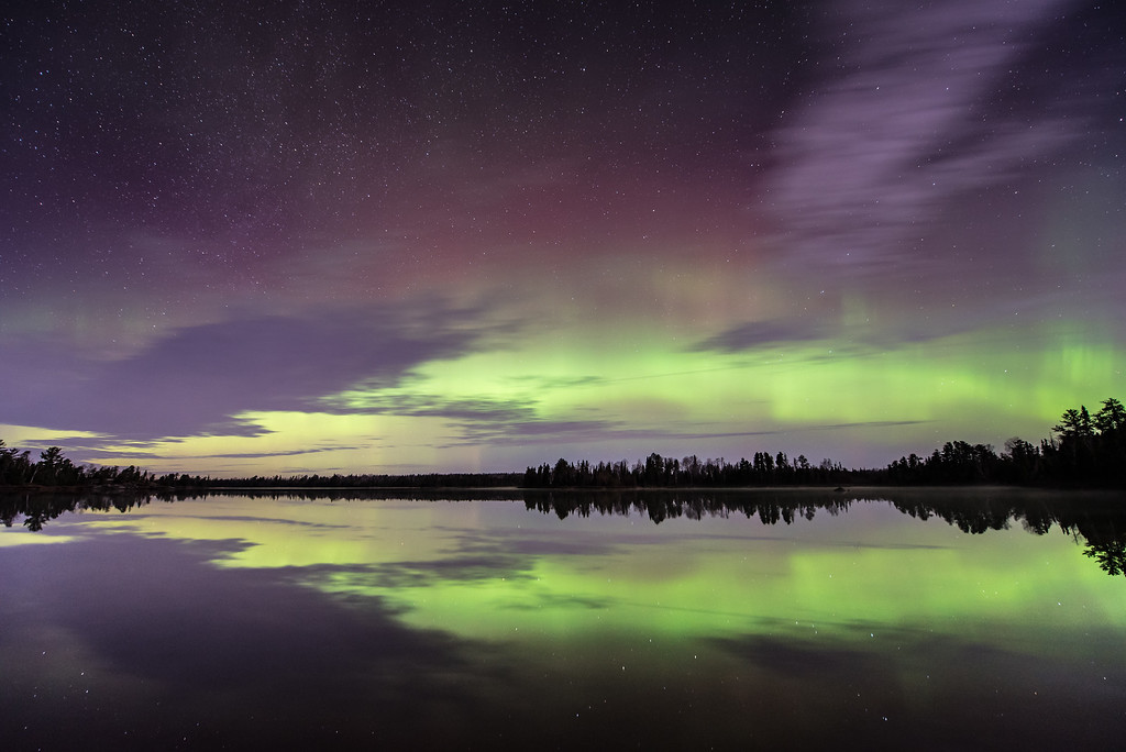"AURORA 4180<br /> <br /> ""November Lights over Kawishiwi Lake""<br /> <br /> Northern Lights over Kawishiwi Lake on November 3, 2015 - Superior National Forest, MN"