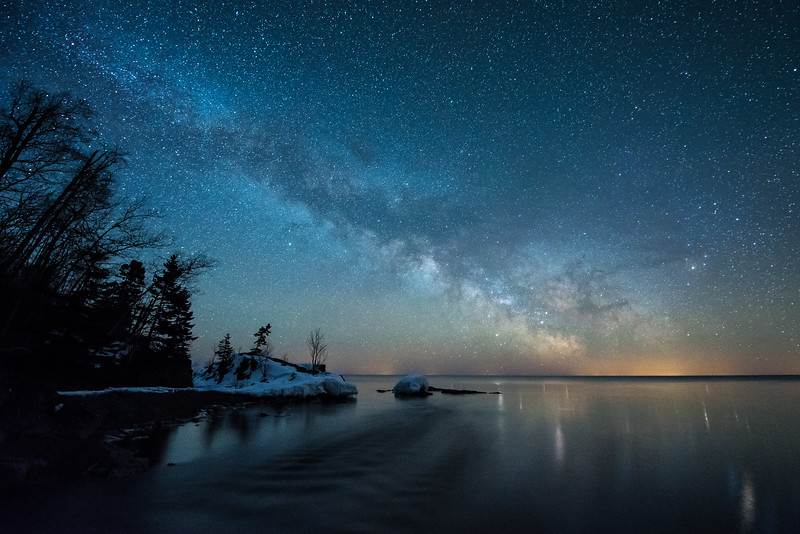 """Milky Way over the mouth of the Temperance River"""