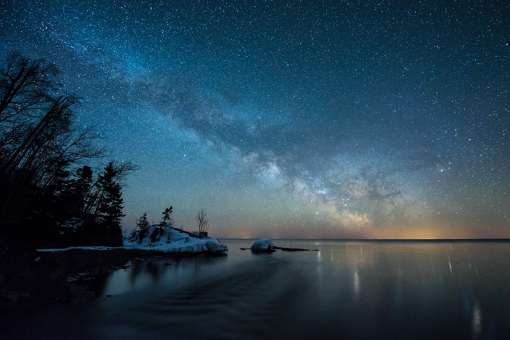 """""""Milky Way over the mouth of the Temperance River"""""""