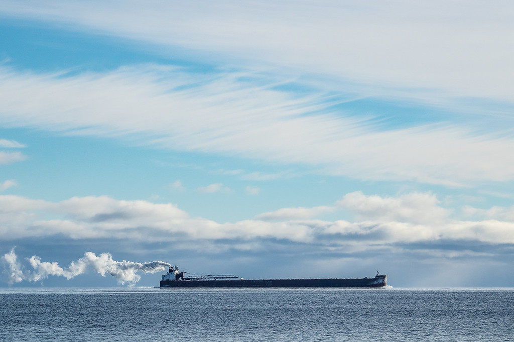 """SUPERIOR BOATS 00017<br /> <br /> """"Hugging the shore""""<br /> <br /> Interlake Steamship Company's """"James R. Barker"""" passing by Horseshoe Bay in Hovland, MN on December 12, 2017."""