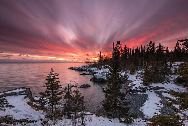 """Serene January Sunset over Lake Superior"""