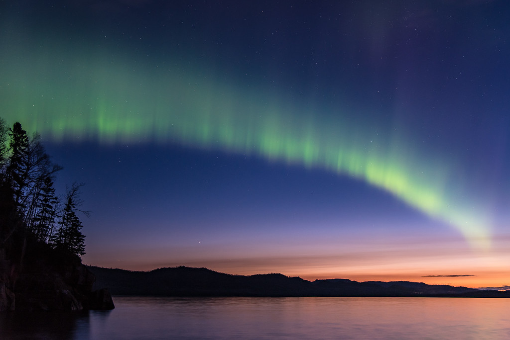 """AURORA 7873<br /> <br /> """"Sunrise Aurora over Wauswaugoning Bay""""<br /> <br /> Northern Lights on Mother's Day 2016 (May 8th at 4:10 A.M.)"""