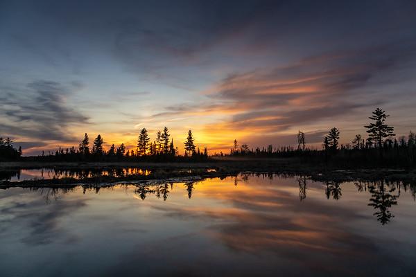 """Beaver Pond Sunset, Arrow River Road"""