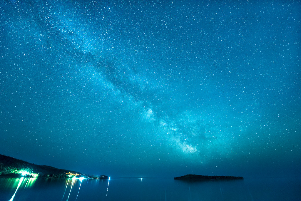 "MILKY WAY 5506<br /> <br /> ""Grand Portage Night Sky""<br /> <br /> The Milky Way over Pete's Island and Hat Point on Grand Portage Bay of Lake Superior."