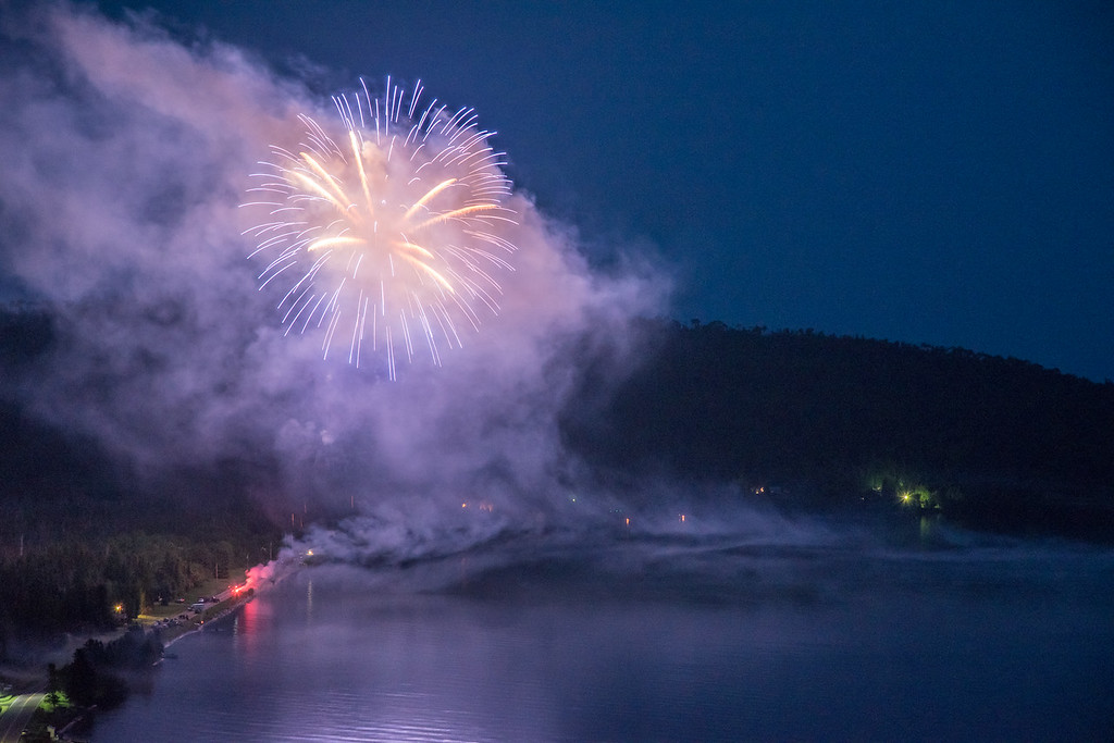 "FIREWORKS 6869<br /> <br /> ""Fireworks over Grand Portage Bay""<br /> <br /> 4th of July 2015 in Grand Portage, MN"